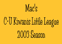 2003 Mac's Little League Twin City Champions
